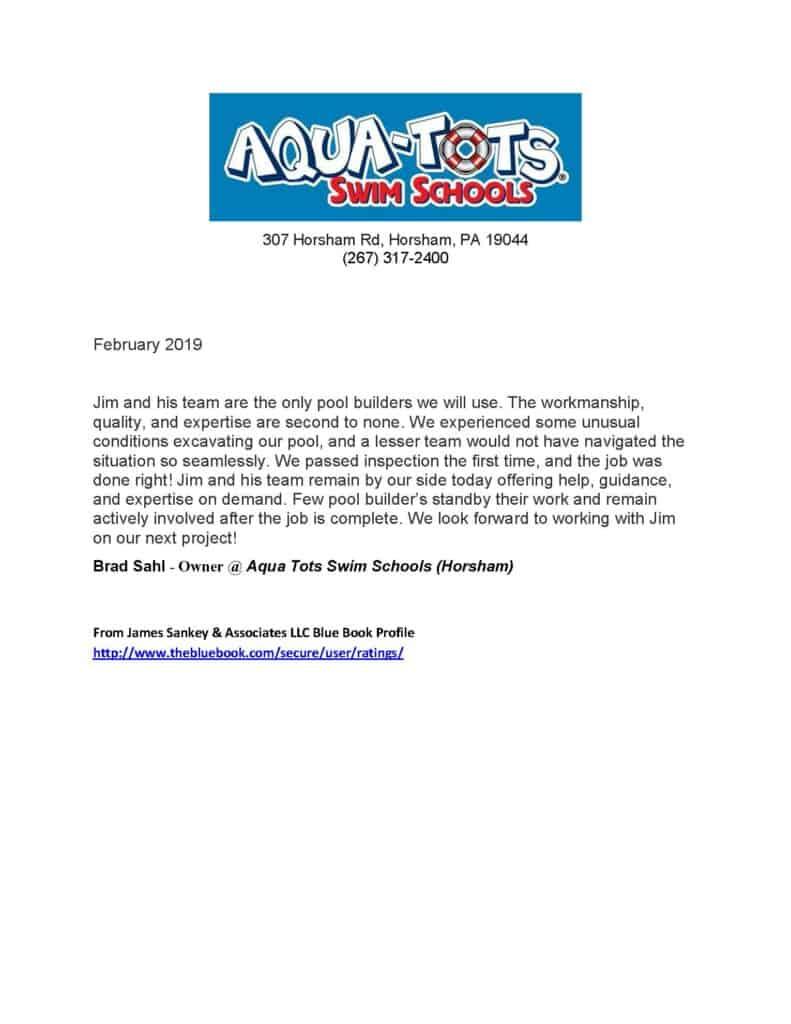 James Sankey & Associates, LLC (aka Sankey Pools) client testimony.