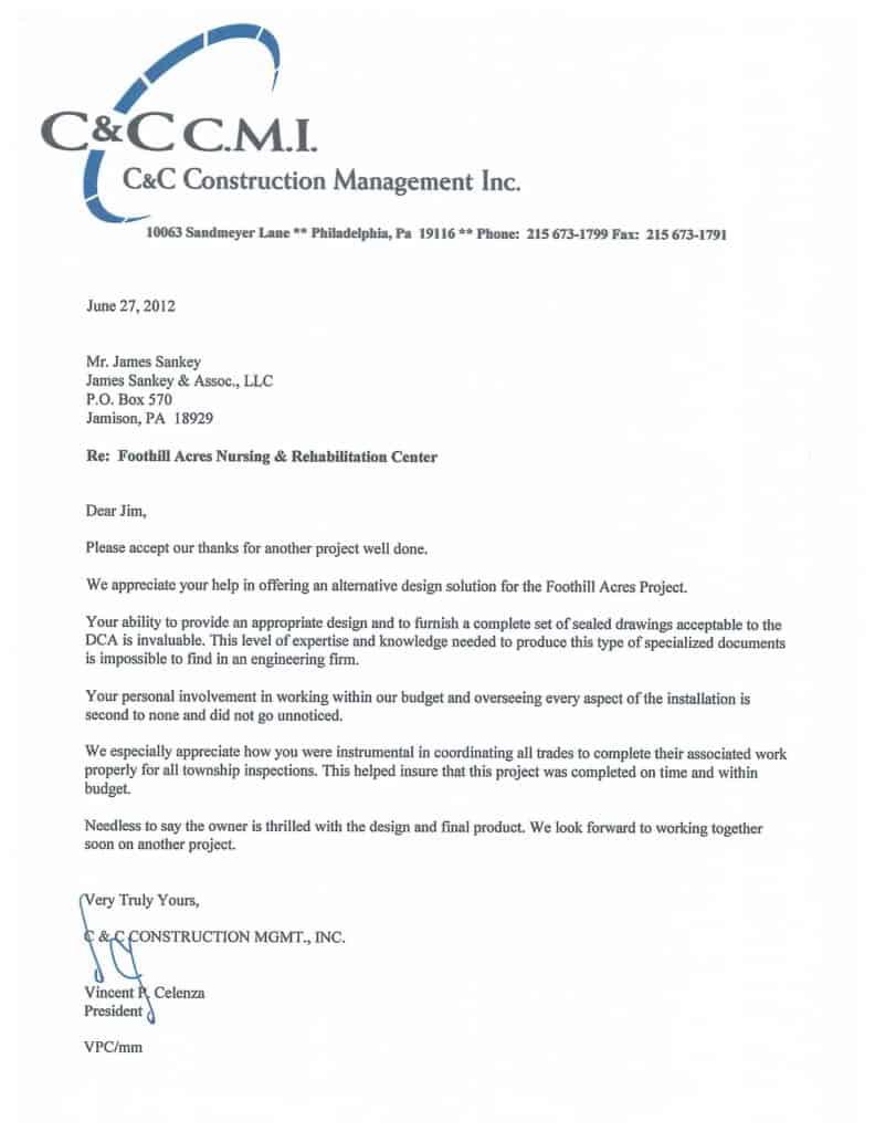 James Sankey & Associates, LLC - Customer Testimony