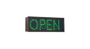 TCS Signs model 617 LED direct view drive thru OPEN CLOSED sign in dark bronze.