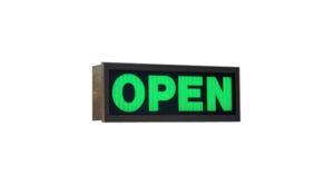 TCS Signs model 617 LED backlit drive thru OPEN sign in dark bronze.
