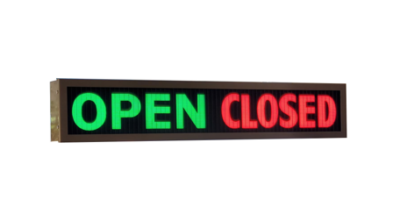 TCS Signs model 634 LED backlit drive thru OPEN CLOSED sign in dark bronze.
