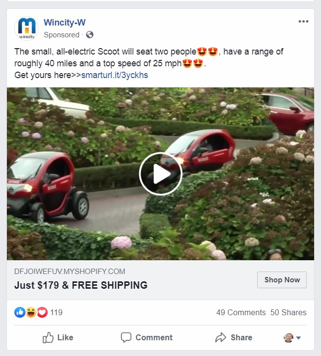 online scam Facebook electric car scoot fake website