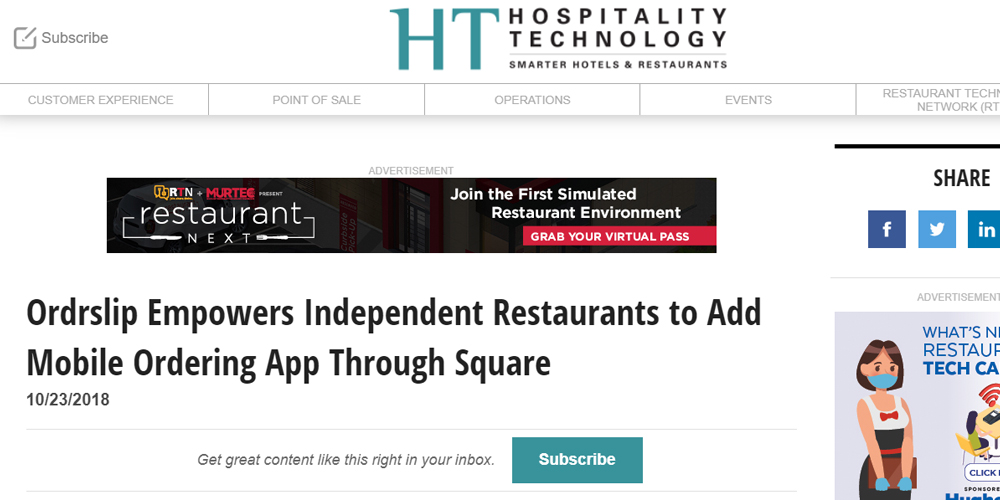 Ordrslip Empower Independent Restaurants to Add Mobile Ordering App Through Square