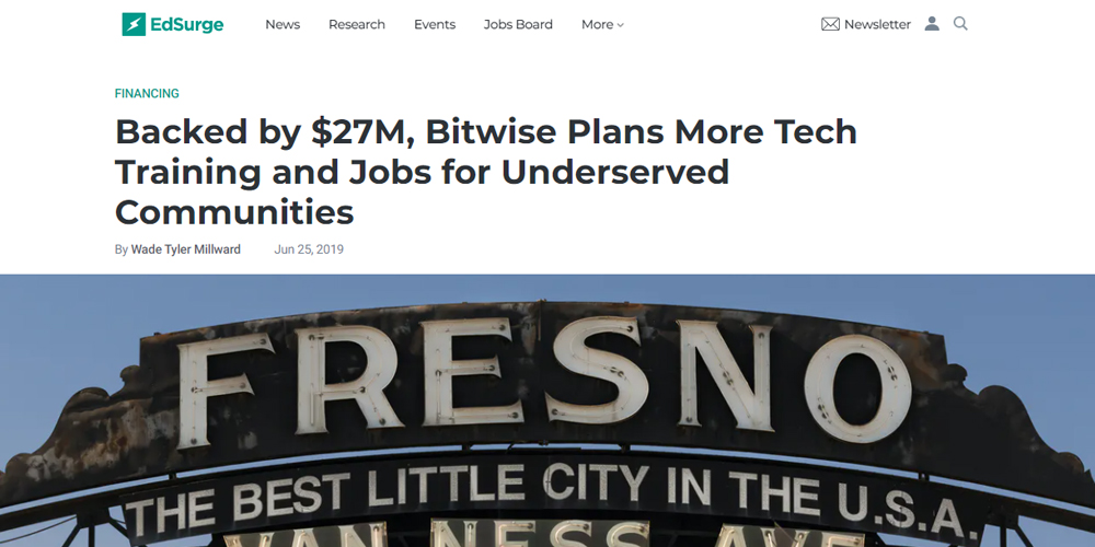 Backed by $27M, Bitwise Plans More Tech Training and Jobs for Underserved Communities