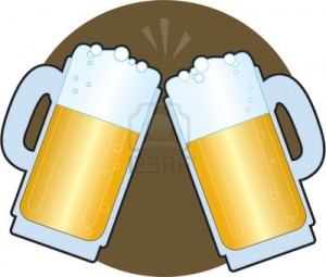 1029270-two-beer-steins-making-a-toast-on-a-brown-background
