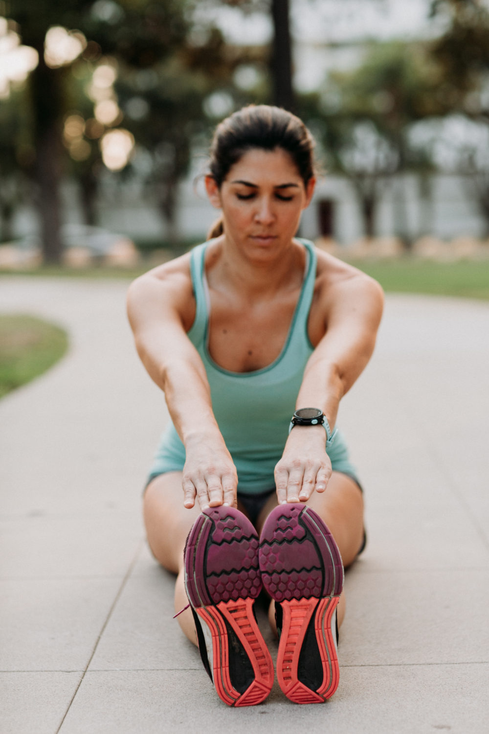Posture stretching with shoe tread