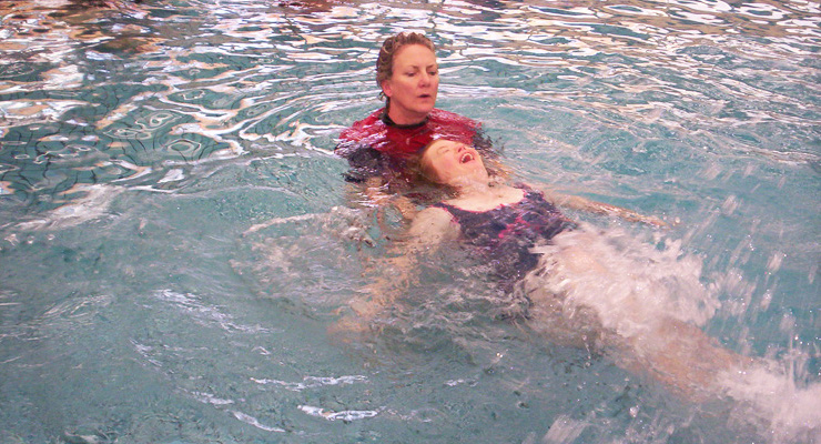 A Murray Valley Centre client enjoying High Quality, Professional hydrotherapy services in Murray Valley Centre's heated pool