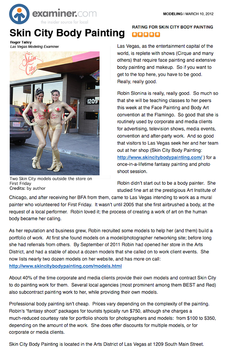Skin City Body Painting Examiner dot com Article