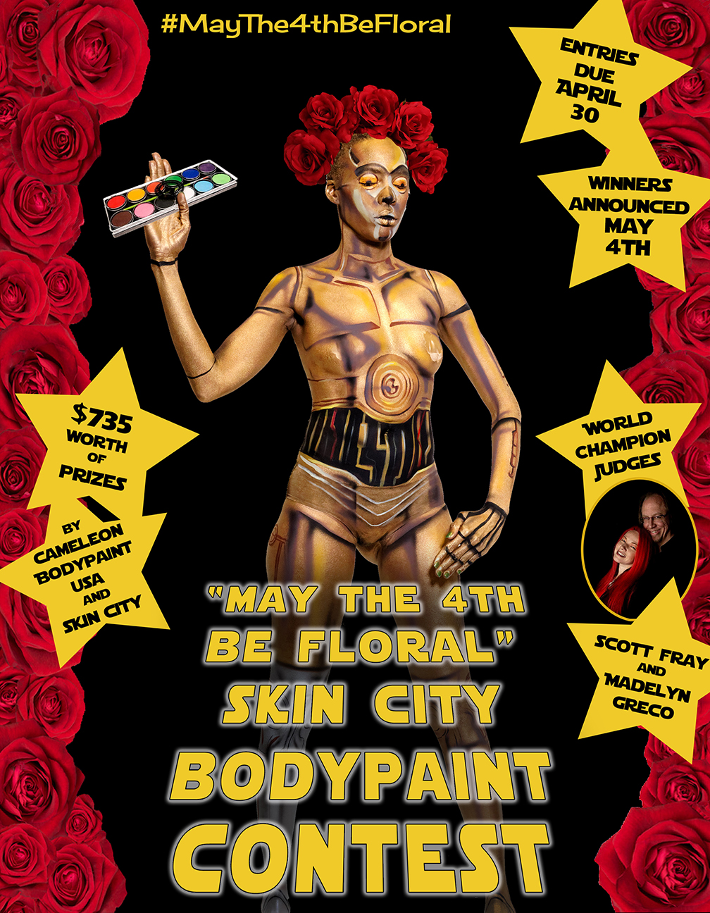 May The 4th Be Floral Poster