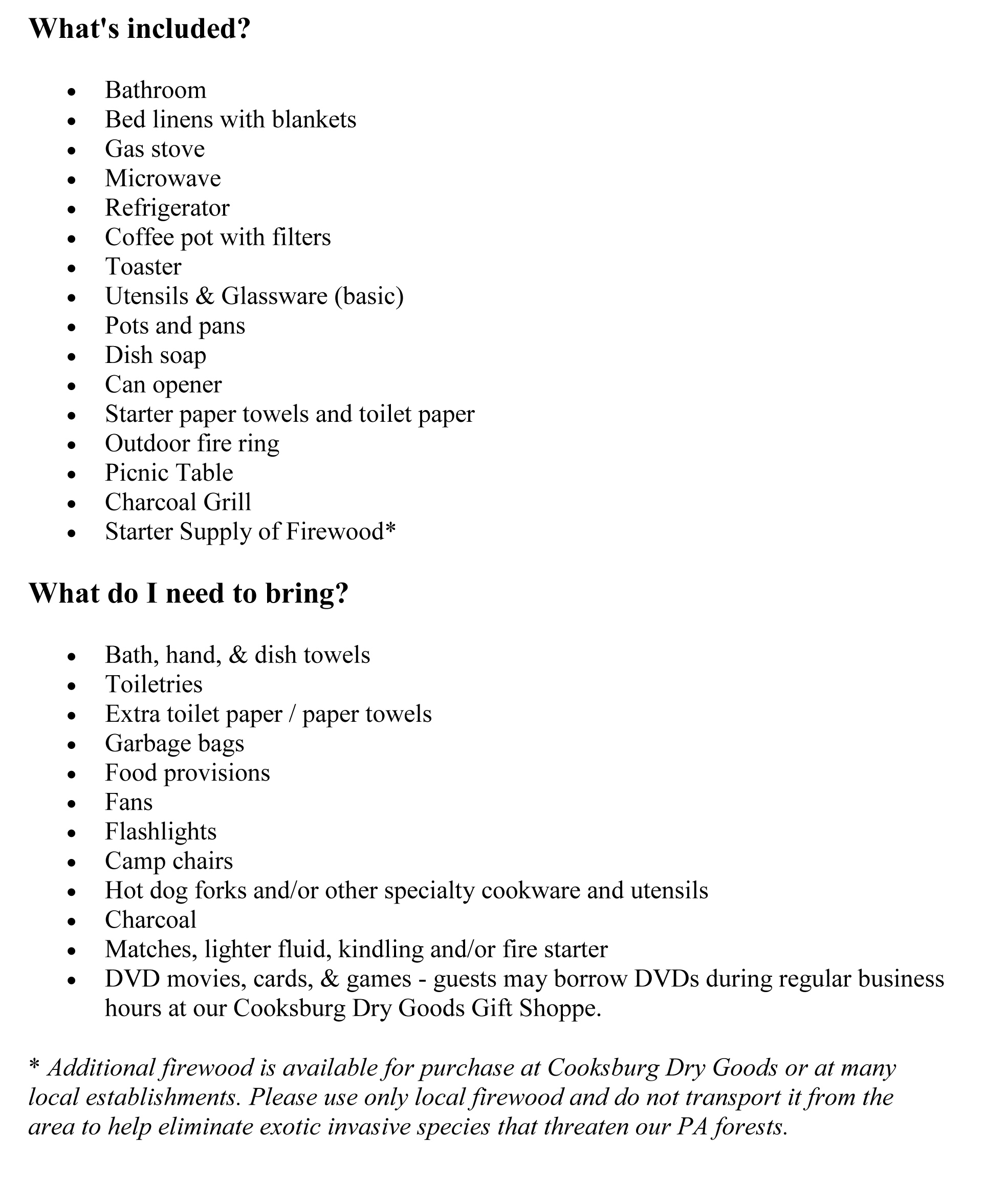 Things to Bring (FW and WO)