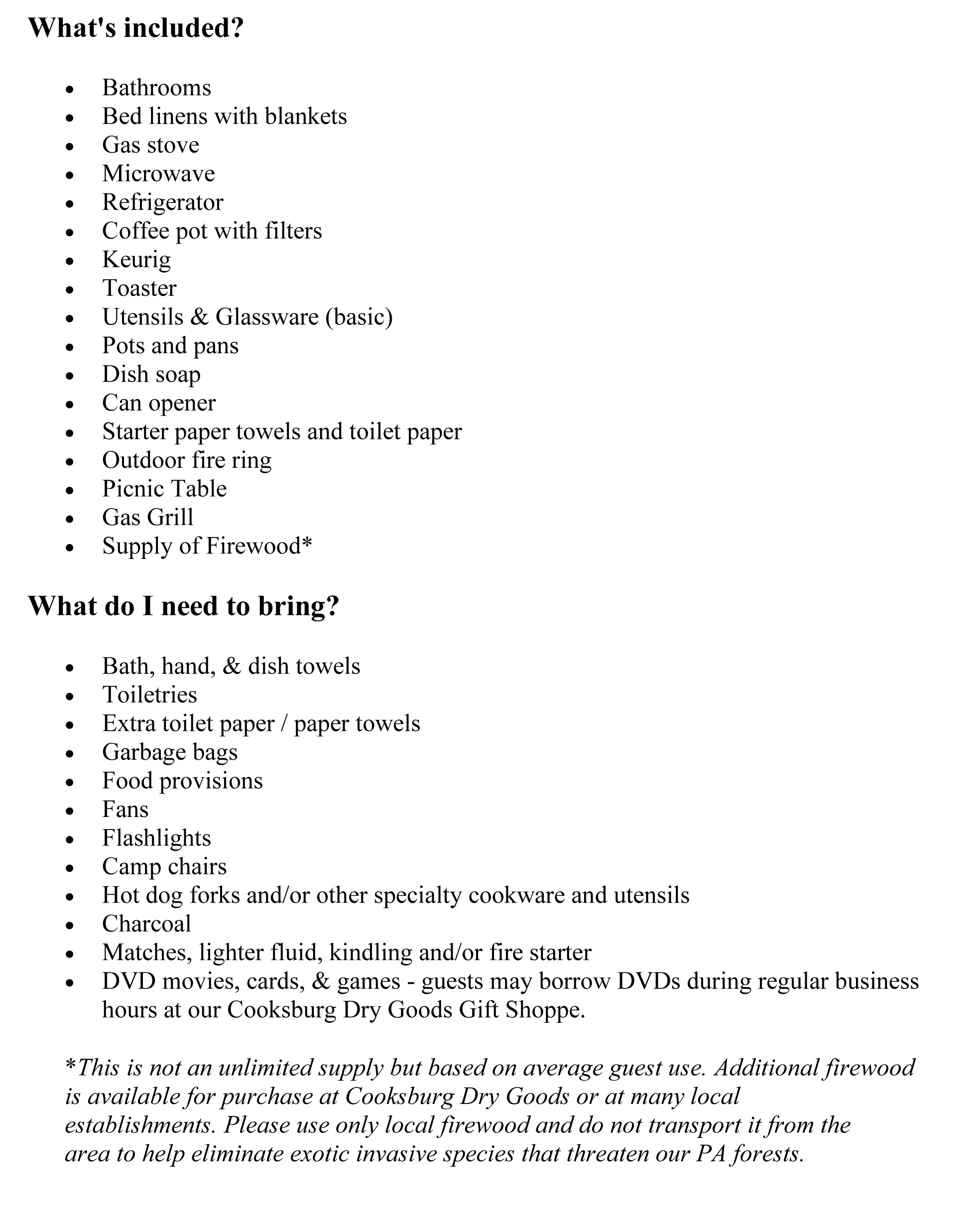 Things to Bring (Clarington House)