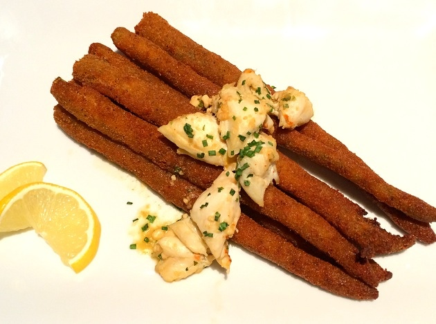 Fried Asparagus with Crab