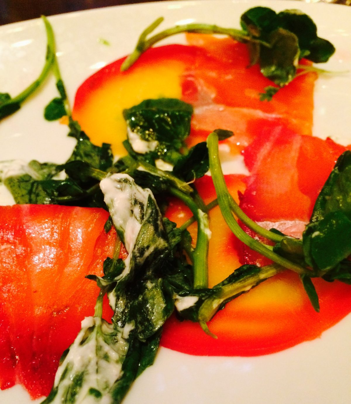 beet horseradish cured salmon gravlax from Deschutes Brewery Beer Dinner at Cook Hall Dallas