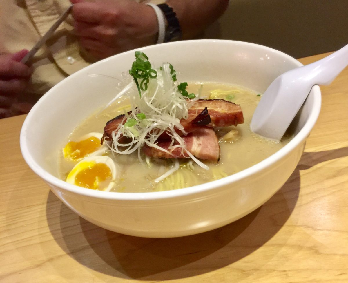 Tonkotsu: pork belly and light chicken broth seasoned with soy