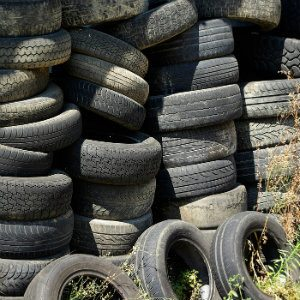 tires in recycling center