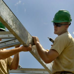 Construction Worker And Beam
