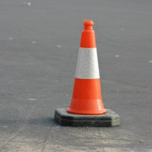 construction cone at paving work site
