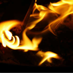 hot flames that could cause a burn