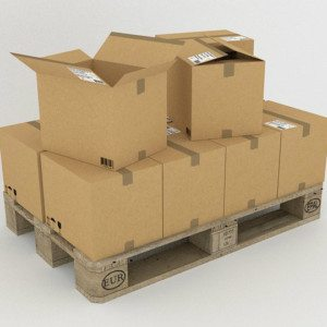 pallets with heavy products inside