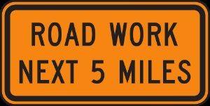 road work warning sign
