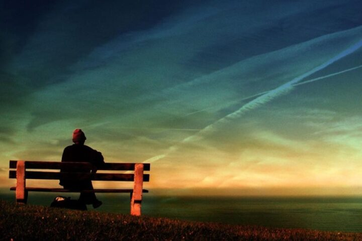 person sitting on bench facing the sky