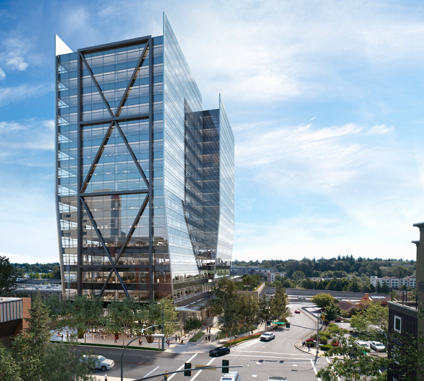 New U-shaped office tower on 112th in Bellevue