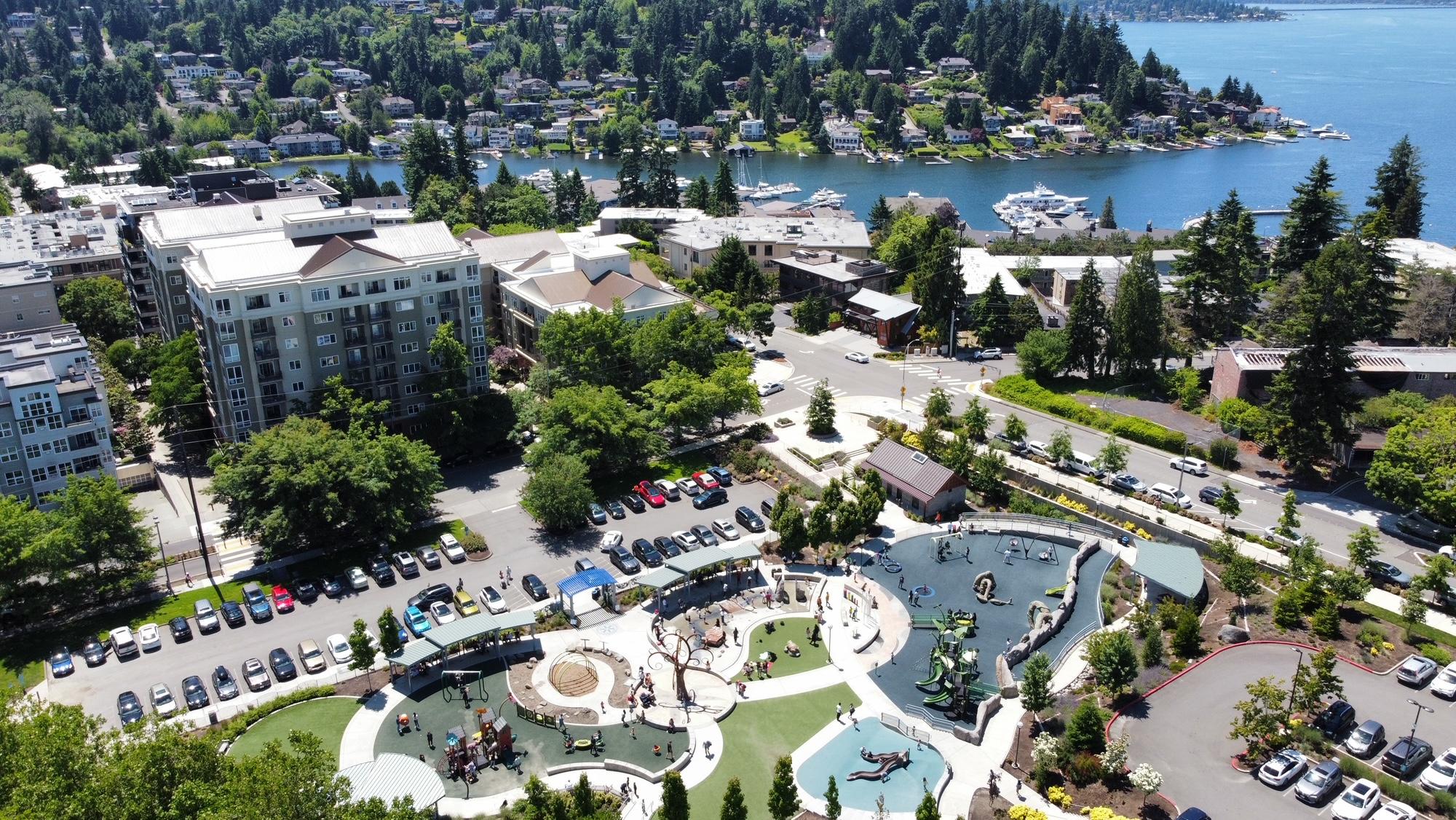 Bellevue Downtown Park Playground and Lake Washington