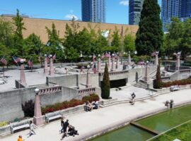 Bellevue Downtown Park with American Flags