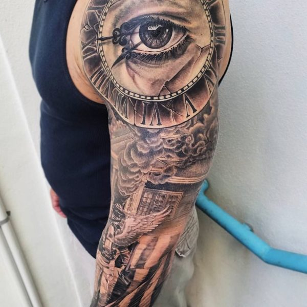 Brandon: Black and Grey Realism sleeve