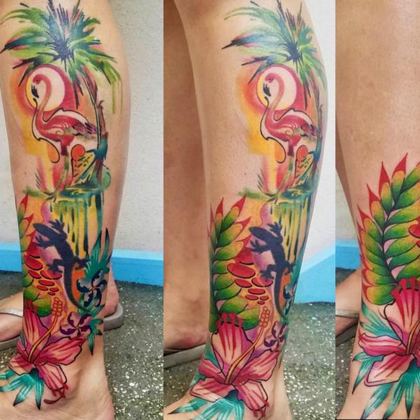 Brandon: Watercolor Flamingo (part healed, part fresh)