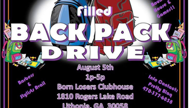 Back to School Filled Back Pack Drive hosted by S.T.A.R. MC of Atlanta – 8/5/17