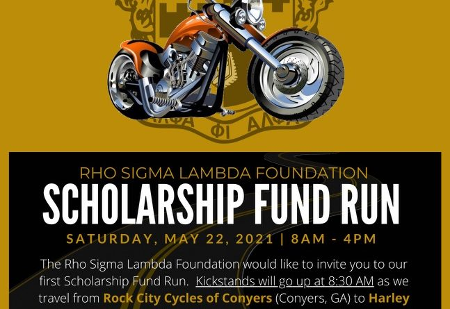 Rho Sigma Lambda Foundation SCHOLARSHIP FUND RUN – Sat., May 22, 2021 from 8a to 4p