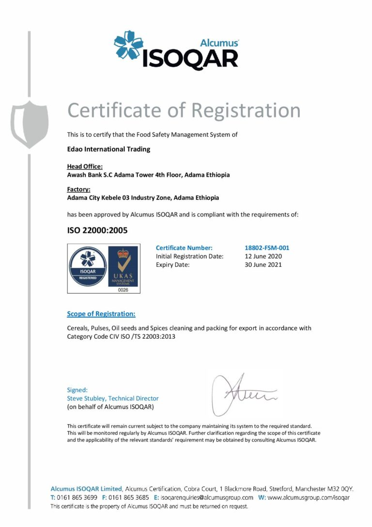 Edao Trading ISO-22000-2005 Certification