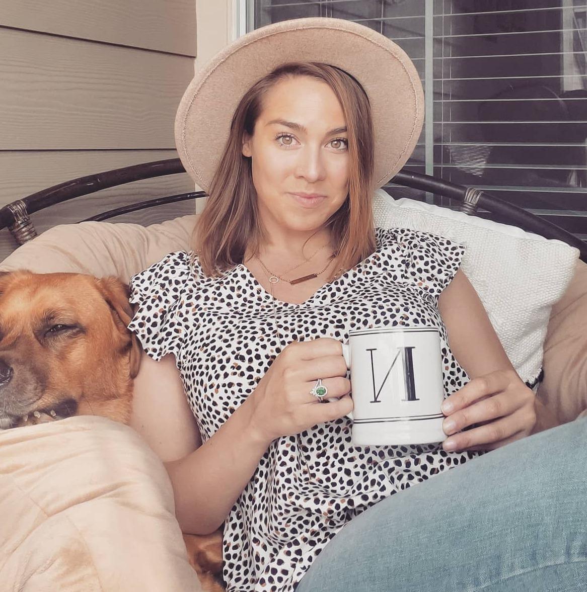 Nicole Ramirez coffee cup and dog