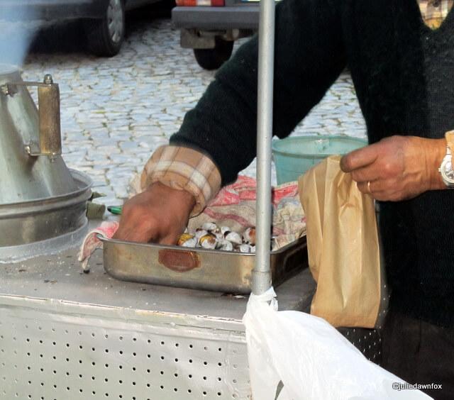 bagging roasted chestnuts