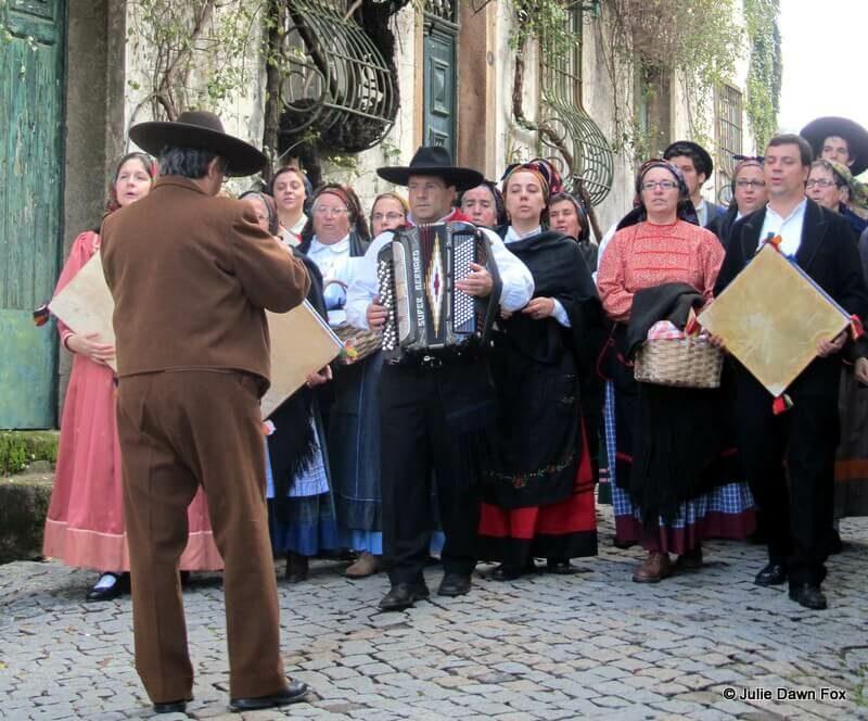 Adufeiras de Penha Garcia. Portuguese folk music troupe performing in the street