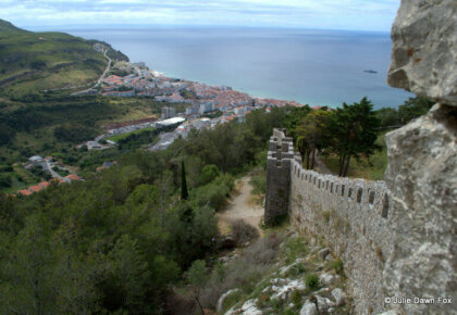 View along Sesimbra castle walls