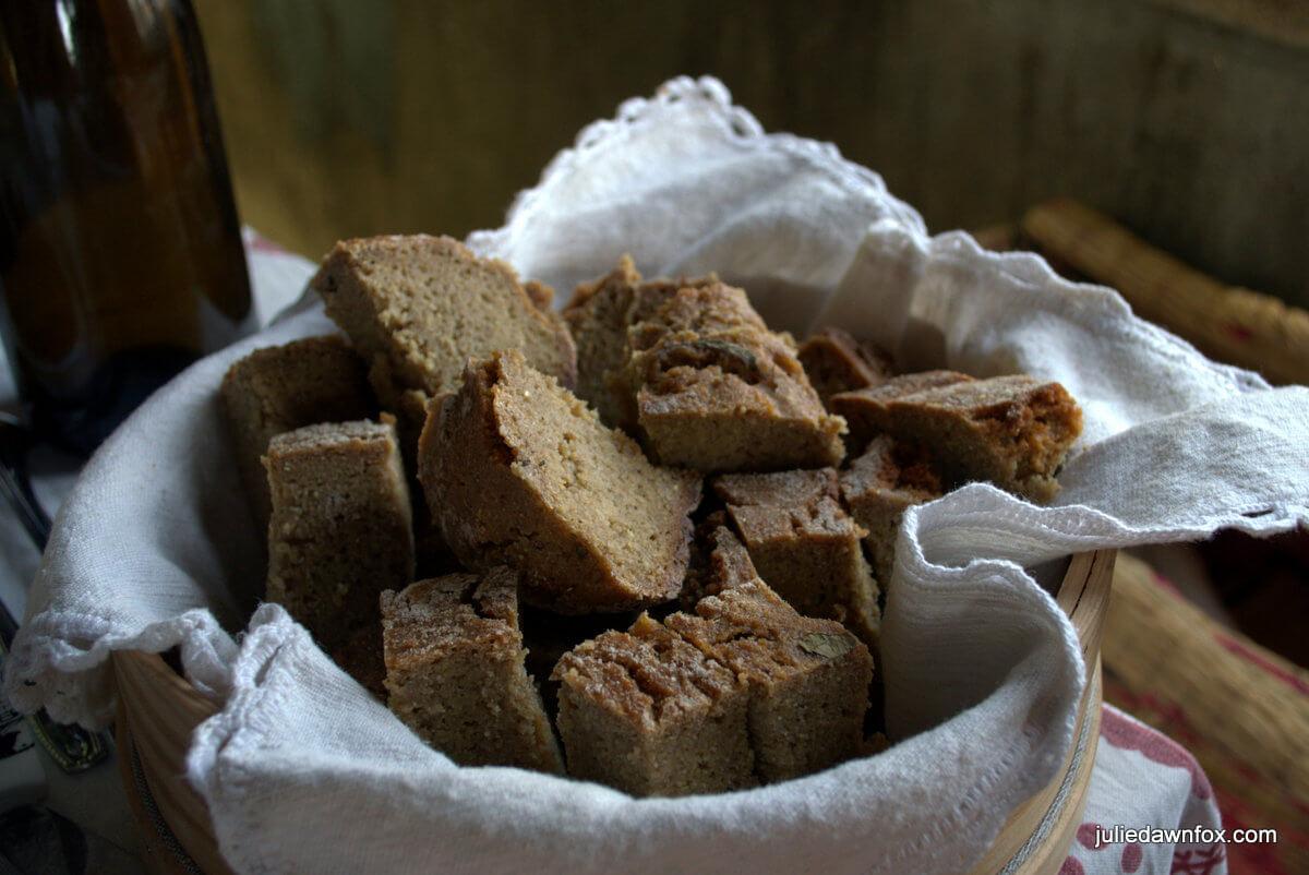 Basket of Broa, Portuguese corn bread