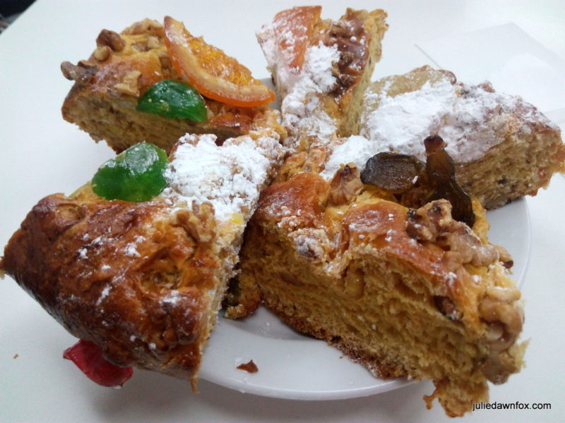 Slices of Portuguese Christmas cake