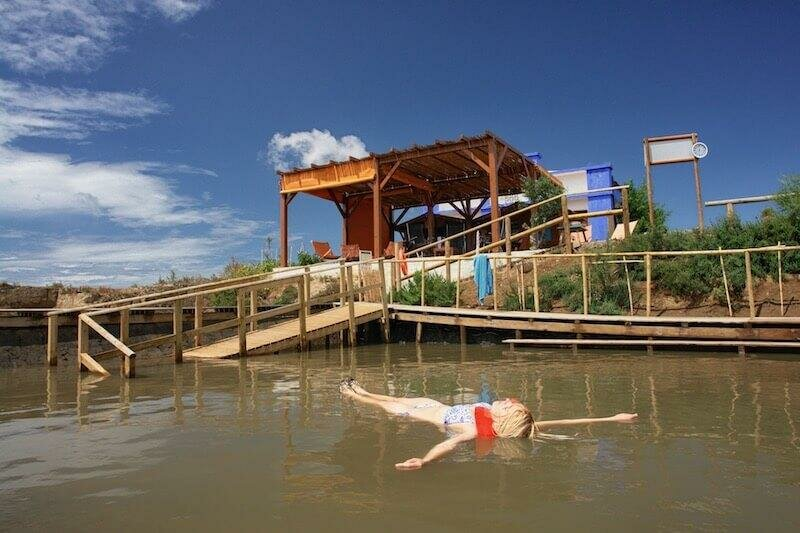 Floating at Casto Marim salt pan spa, Eastern Algarve