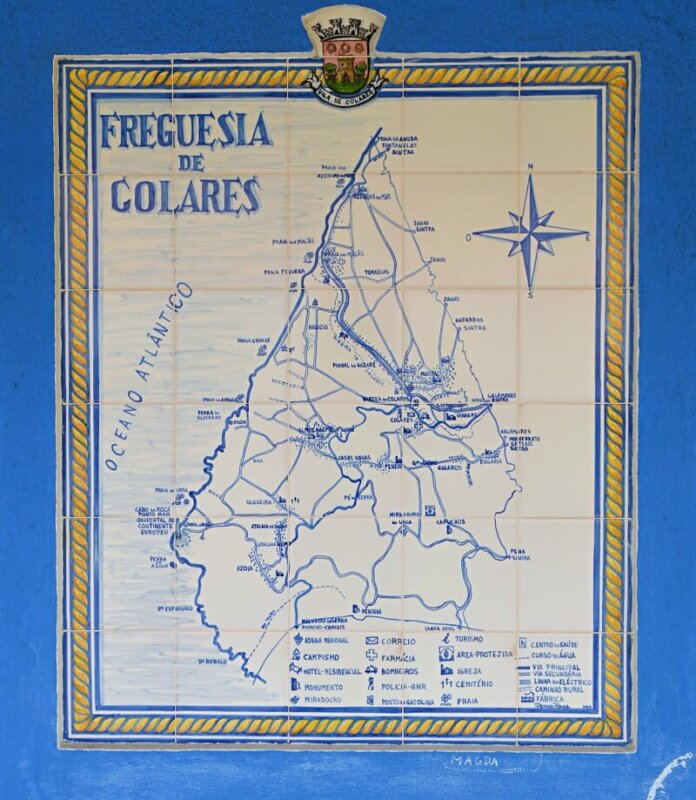 Azulejo map of Colares, Sintra, Portugal