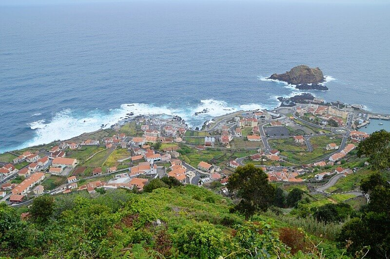 Porto Moniz from above. Places to stay in Madeira
