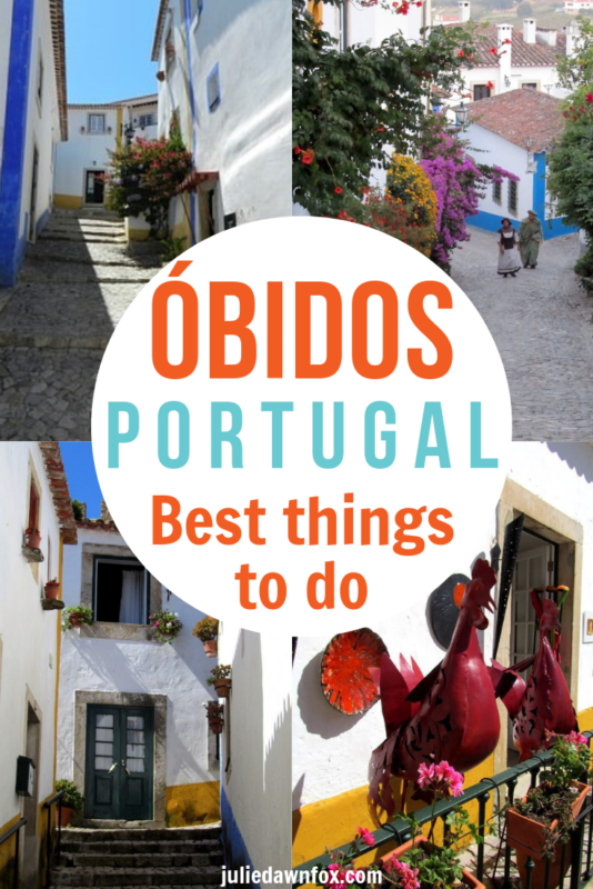 4 pictures of Obidos. Óbidos, a charming medieval town in central Portugal, is within easy reach of a day trip from Lisbon. But with its delightful architecture, varied events (the Chocolate Festival and the Medieval Fair, to name just two!) and 'Ginjinha' - Portuguese cherry brandy - you'll probably want to stay there longer, so check out the accommodation link!