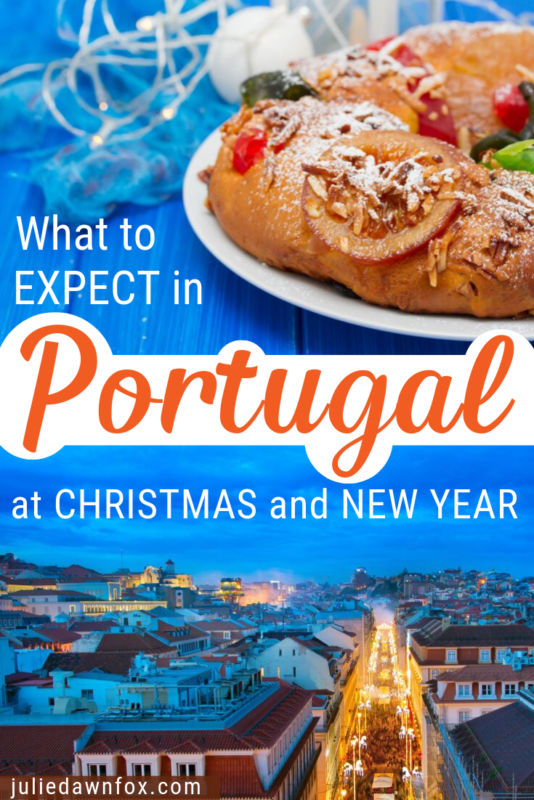 Christmas cake and city scene.Planning to spend Christmas in Portugal, either as an expat in your own home or on vacation? This essential guide will tell you what you should expect over the festive season: food and drink, Portuguese traditions, where to find a white Christmas...read on to find out more!