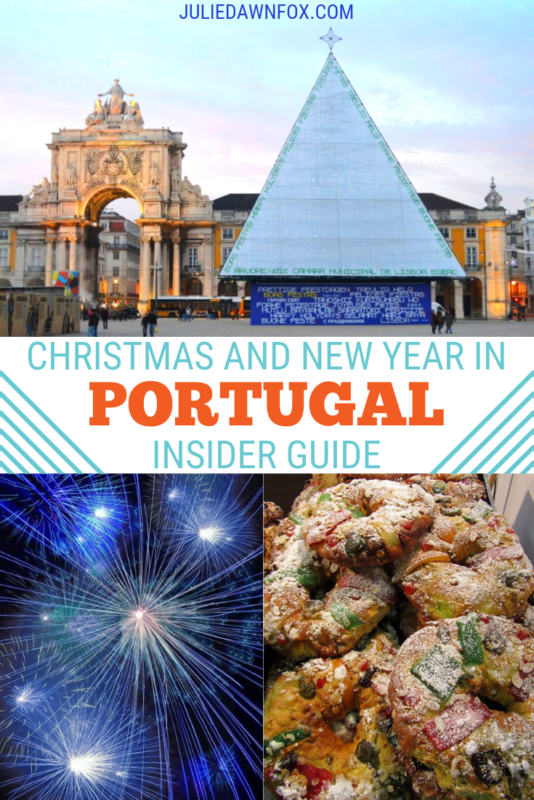 Christmas tree in Lisbon, fireworks and cake. What Happens At Christmas And New Year In Portugal_
