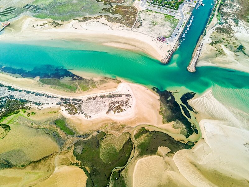 Aerial view of unique Ria Formosa in Fuseta, Algarve. One of the best beaches in Portugal