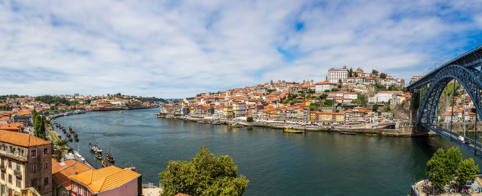 Panorama of Porto in Portugal on a beautiful summer day
