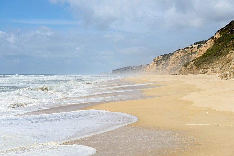 Waves at the beach of Praia do Norte, Nazare
