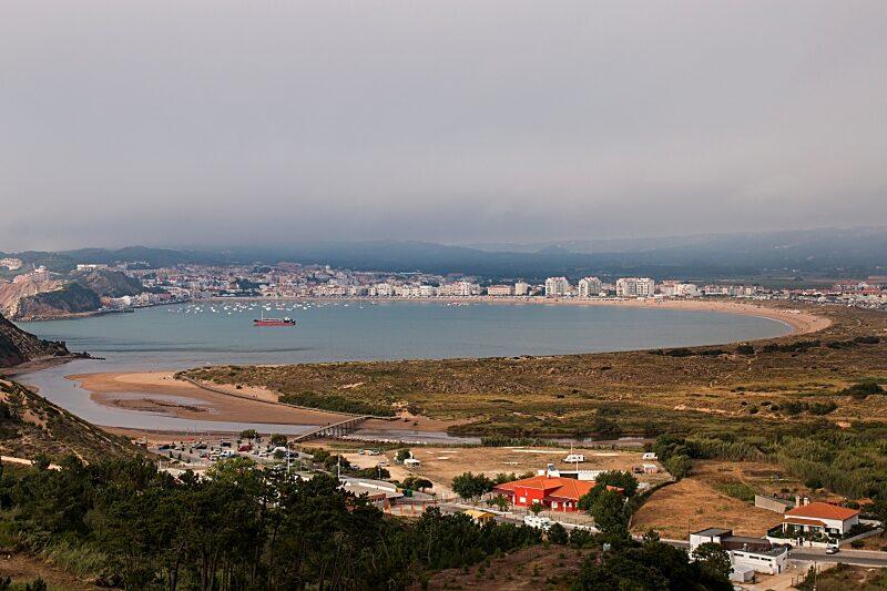 View of the beautiful bay of Sao Martinho do Porto, Portugal.