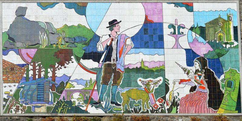Azulejo panel in Castro Daire, Portugal